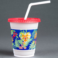 Dart Solo CC12C-J5145 Jungle Print 12-14 oz. Plastic Kid's Cup with Lid and Straw - 250/Case