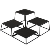 Tablecraft BKR4 Square 4-Piece Riser Set - 7 inch x 6 inch