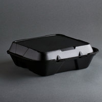 Genpak SN203-BK 9 inch x 9 inch x 3 inch Black Foam 3 Compartment Hinged Lid Container 100 / Pack