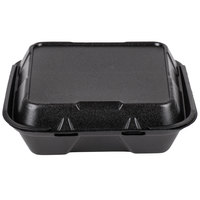 Genpak SN203-BK 9 inch x 9 inch x 3 inch Black Foam 3 Compartment Hinged Lid Container - 100/Pack