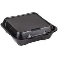 Genpak SN203-BK 9 inch x 9 inch x 3 inch Black 3-Compartment Hinged Lid Foam Container - 100/Pack