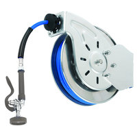 T&S B-7112-01M 15' Open Stainless Steel Hose Reel with B-0107 Spray Valve
