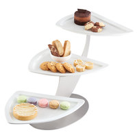 Cal-Mil 3361-55 Stainless Steel 3-Tier Angled Plate Display - 27 inch x 13 inch x 15 inch