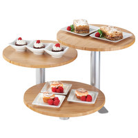 Cal-Mil 3347-3-60 3-Tier Swivel Display with Round Bamboo Shelves - 12 inch x 11 inch