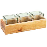 Cal-Mil 3406-3 Vintage 3 inch Wooden Box Display with 3 Glass Jars