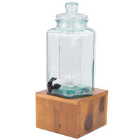 Cal-Mil 3422-2INF 2 Gallon Vintage Glass Beverage Dispenser with Wooden Base and Infusion Chamber
