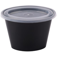 Pactiv Newspring E506B ELLIPSO 6 oz. Black Oval Plastic Souffle / Portion Cup with Lid - 500/Case