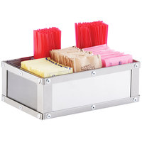 Cal-Mil 3398-55 Urban Stainless Steel Condiment Organizer - 9 inch x 6 inch x 5 1/4 inch
