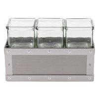 Cal-Mil 3412-5-55 Urban 5 inch Stainless Steel Jar Display with 3 Glass Jars