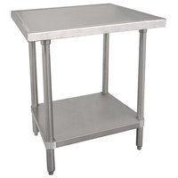 Advance Tabco VLG-240 24 inch x 30 inch 14 Gauge Stainless Steel Work Table with Galvanized Undershelf