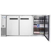 Avantco UBB-24-72S 72 inch Narrow Solid Door Stainless Steel Back Bar Cooler with LED Lighting