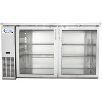 Avantco UBB-24-60GS 60 inch Narrow Glass Door Stainless Steel Back Bar Cooler with LED Lighting
