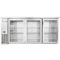 Avantco UBB-24-72GS 72 inch Narrow Glass Door Stainless Steel Back Bar Cooler with LED Lighting