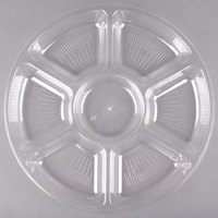 Fineline Platter Pleasers 3510-CL 16 inch 7 Compartment Clear Polystyrene Deli / Catering Tray