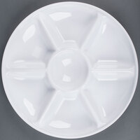 Fineline Platter Pleasers 3507-WH 14 inch 7 Compartment White Polystyrene Deli / Catering Tray