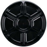 Fineline Platter Pleasers 3510-BK 16 inch 7 Compartment Black Polystyrene Deli / Catering Tray