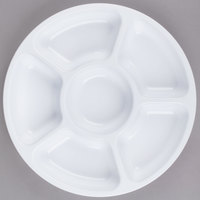 Fineline Platter Pleasers 3521-WH 12 inch 6 Compartment White Polystyrene Deli / Catering Tray