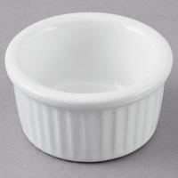 Tuxton BWX-0252 DuraTux 2.5 oz. White Fluted Ramekin - 12/Pack