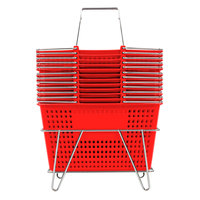 Red 17 1/4 inch x 11 inch Plastic Grocery Market Shopping Basket Set with Stand