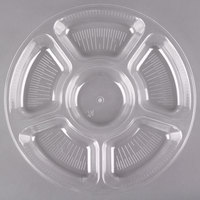 Fineline Platter Pleasers 3521-CL 12 inch 6 Compartment Clear Polystyrene Deli / Catering Tray
