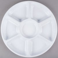Fineline Platter Pleasers 3510-WH 16 inch 7 Compartment White Polystyrene Deli / Catering Tray