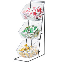 Cal-Mil 1709 Iron Black Three Tier Condiment Display with Clear Bins - 12 inch x 18 inch x 22 inch