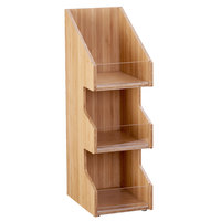 Cal-Mil 2053-60 Bamboo 3 Tier, 3 Bin Condiment Display with Clear Bin Face - 7 inch x 5 inch x 16 inch