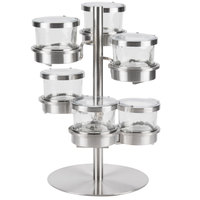 Cal-Mil 1858-5-55HL Mixology Stainless Steel Tiered 6 Jar Rotating Display for 32 oz. Jars with Hinged Lids - 16 inch x 12 inch x 11 1/4 inch