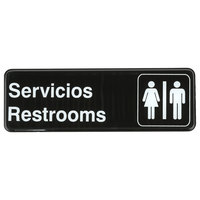 Tablecraft 394588 9 inch x 3 inch Black and White Servicios / Restrooms Sign