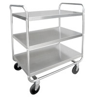 Lakeside 493 Medium-Duty Stainless Steel Three Shelf Tubular Utility Cart with Chrome-Plated Legs / Frame - 36 inch x 23 inch x 40 1/8 inch