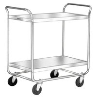 Lakeside 492 Medium-Duty Stainless Steel Two Shelf Tubular Utility Cart with Chrome-Plated Legs / Frame - 36 inch x 23 inch x 40 1/8 inch