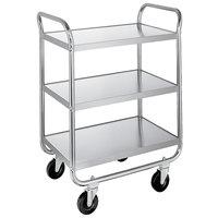 Lakeside 473 Medium-Duty Stainless Steel Three Shelf Tubular Utility Cart with Chrome-Plated Legs / Frame - 27 inch x 17 1/2 inch x 35 3/4 inch