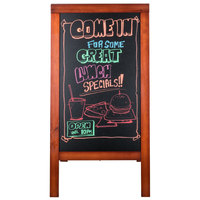 American Metalcraft Securit SBSM135 A-Frame Sign Board 30 inch x 54 inch Mahogany Finish