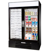 Beverage Air Market Max MMRF49-1-BW Black 2 Section Glass Door Dual Temperature Merchandiser - 49 Cu. Ft.