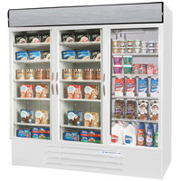 Beverage Air Market Max MMRF72-1-WW-LED White 3 Section Glass Door Dual Temperature Merchandiser - 72 Cu. Ft.