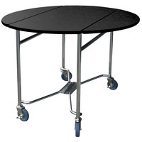 Lakeside 412 Mobile Round Top Room Service Table with Black Finish - 40 inch x 40 inch x 30 inch