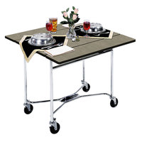 Lakeside 413 Mobile Square Top Room Service Table with Beige Suede Finish - 36 inch x 36 inch x 30 inch