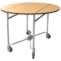 Lakeside 412HRM Mobile Round Top Room Service Table with Hard Rock Maple Finish - 40 inch x 40 inch x 30 inch