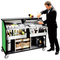 Lakeside 889G 63 1/2 inch Stainless Steel Portable Bar with Green Laminate Finish, 2 Removable 7-Bottle Speed Rails, and 70 lb. Ice Bin