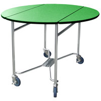 Lakeside 412 Mobile Round Top Room Service Table with Green Finish - 40 inch x 40 inch x 30 inch