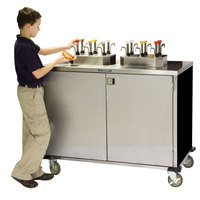 Lakeside 70210 Stainless Steel EZ Serve 6 Pump Condiment Cart with Black Finish - 27 1/2 inch x 50 1/4 inch x 47 inch