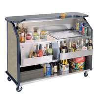 Lakeside 887BS 63 1/2 inch Stainless Steel Portable Bar with Beige Suede Laminate Finish, 2 Removable 7-Bottle Speed Rails, and 40 lb. Ice Bin
