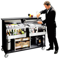 Lakeside 889 63 1/2 inch Stainless Steel Portable Bar with Black Laminate Finish, 2 Removable 7-Bottle Speed Rails, and 70 lb. Ice Bin