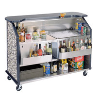 Lakeside 887GS 63 1/2 inch Stainless Steel Portable Bar with Gray Sand Laminate Finish, 2 Removable 7-Bottle Speed Rails, and 40 lb. Ice Bin