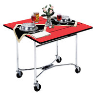 Lakeside 413 Mobile Square Top Room Service Table with Red Finish - 36 inch x 36 inch x 30 inch
