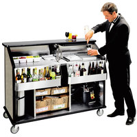 Lakeside 889 63 1/2 inch Stainless Steel Portable Bar with Beige Suede Laminate Finish, 2 Removable 7-Bottle Speed Rails, and 70 lb. Ice Bin
