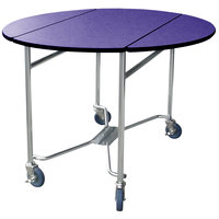 Lakeside 412 Mobile Round Top Room Service Table with Purple Finish - 40 inch x 40 inch x 30 inch