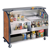 Lakeside 887 63 1/2 inch Stainless Steel Portable Bar with Victorian Cherry Laminate Finish, 2 Removable 7-Bottle Speed Rails, and 40 lb. Ice Bin