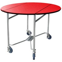 Lakeside 412RD Mobile Round Top Room Service Table with Red Finish - 40 inch x 40 inch x 30 inch