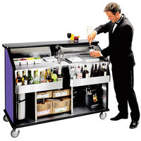 Lakeside 889P 63 1/2 inch Stainless Steel Portable Bar with Purple Laminate Finish, 2 Removable 7-Bottle Speed Rails, and 70 lb. Ice Bin